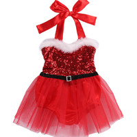 Christmas Newborn Infant Baby Girls Rompers Jumpsuit Santa Tutu Lace Dress XMAS Outfits Costume