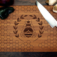 Honey Bee Cutting Board (Pictured in Amber), approx. 12 x 16 inches, Bamboo wood, Wedding Gift, Anniversary Gift, Holiday gift