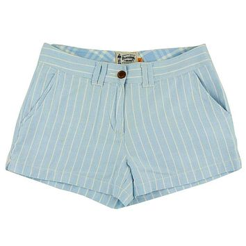 Women's Shorts in White and Carolina Blue Oxford Stripe by Olde School Brand