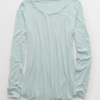 Aerie Real Soft® Long Sleeve Tee, Dusty Sage