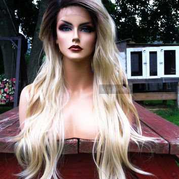 "U.S.A. // 24"" Long Heat OK Wavy Platinum Blonde Lace Front & Skin Top Part Wig w/ Ombre Dark Root"