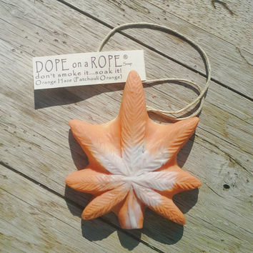 Dope on a Rope Soap - Soap on a Rope - Hemp Oil Soap - Orange Haze - Patchouli Orange Essential Oils - Hippy Peace Earthy Boho Dope Soaps