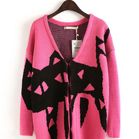 Cat Print V-neck Knitted Cardigan