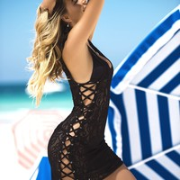 Black Lace Up Beach Cover Up