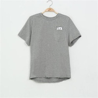 Cat In Pocket Short Sleeve T-Shirt