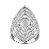 Cubic Zirconia Sterling Silver Kite Ring (White)