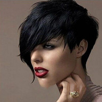 Women's Fashion Sexy Heat Short Black Straight Wig Cosplay Party Full Hair Wigs
