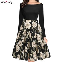 Oxiuly Women Elegant Floral Print Party Dress Fall 50s Vintage Retro Rockabilly Skater Pin Up Swing Dress
