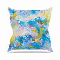 "Ebi Emporium ""When We Were Mermaids"" Blue Yellow Outdoor Throw Pillow"