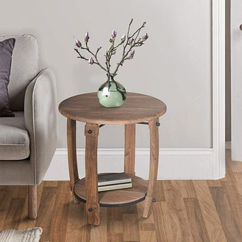"""24"""" Retro Style Round Wooden End Side Accent Table with Bottom Shelf, Natural Brown By The Urban Port"""