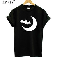 Halloween Moon With Bat Print Women Tshirt Cotton Casual Funny t Shirt For Girl Top Tee Hipster Tumblr Drop Ship HH-57