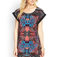 LOVE 21 Psychedelic Woven Shift Dress Black/Coral