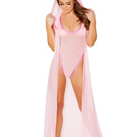 Baby Pink Holographic Trim Mesh Duster Cape