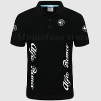 Alfa Romeo Polo Shirt Short Sleeves Collar Solid Cotton Camisa Polos Homme Clothing