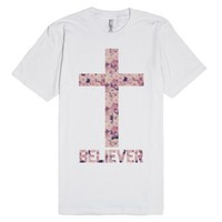 Christian Believer Floral Cross Shirt-Unisex White T-Shirt
