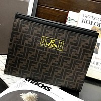 Fendi New fashion more letter print cosmetic bag file package handbag