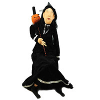Halloween GRISELBERTA Fabric, Felt & Wood Witch Pumpkin Wand 65523