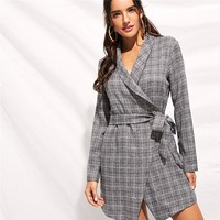 Grey Shawl Collar Self Tie Wrap Plaid Blazer Coat Elegant Belted Wrap Longline Outerwear Women Workwear Coats