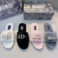 DIOR Printed matching letters flat-soled household open-toed slippers