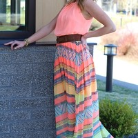 Summer Radiance Coral Maxi Dress