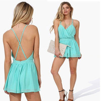 Backless Jumpsuits Sexy Mint Spaghetti Strap Women's Party High Street Novelty Brand Pleated [4905533252]
