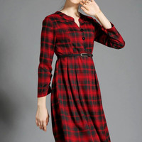 Plaid Long Sleeve Belted A-Line Pleated Midi Dress in Red