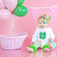 Baby Girls St. Patrick's Day Outfit -- Glitzy Shamrock One Piece with Hair Bow and Leg Warmers-Cutest Clover in the Patch