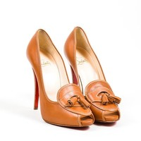 HCXX Brown Christian Louboutin Leather   Alta Campus 120   Loafer Pumps