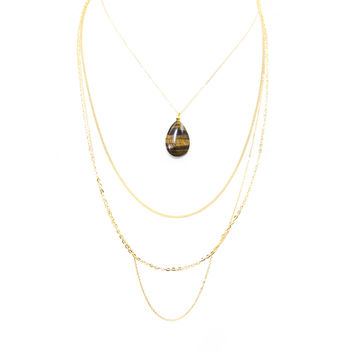 Tiger Eye Chain Layered Necklace Set In Gold
