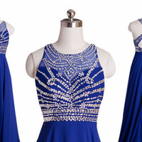 Criss Cross Back Prom Dresses,Blue Prom Dress,Long Evening Dress