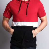 Short Sleeve Color Block Hooded Anorak