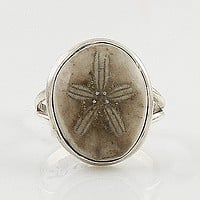 Fossilized Sea Urchin Sterling Silver Ring - keja jewelry