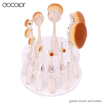 Docolor oval makeup brush10pcs professional makeup brushes set and oval brush holder can choose toothbrush makeup brush with box