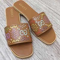 GG color letter printing ladies casual sandals slippers Shoes