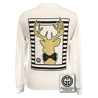 SALE Girlie Girl Originals Preppy Glitter Gold Deer Country White Long Sleeves T Shirt