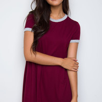 True Colors Shirt Dress - Burgundy