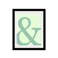 "Ampersand Poster. Typographic Poster. Blue and Green. Simple. Trendy. Modern. Minimal. 8.5x11"" Print"