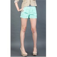 11880MW064 Turquoise Pastel Shorts and Womens Fashion Clothing & Shoes - Make Me Chic