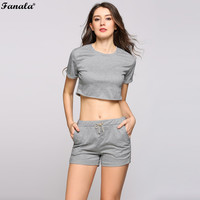 FANALA Summer SportSuit  Casual Fitness  Two Piece Set Crop Top and Drawstring Shorts Solid O-Neck Shorts#30-20