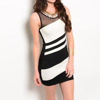 Diagonal Striped Bodycon Dress in Black & White