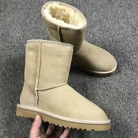 Best Online Sale Ugg 5825 Mini Sand Color Classic II Tall Boot Sheepskin Boots Snow Boots