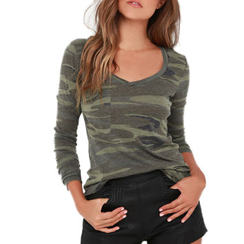 Autumn Women Tee Shirts Fashion Sexy V Neck Pocket Long Sleeve Camouflage Printing Pullover Tops Shirts tops