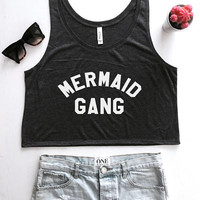 Mermaid gang cropped tank top summer beach fashion cute women