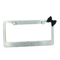 ImmI-living Silver Bling Rhinestone Diamond License Plate Frame with Black Bow