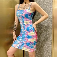 Hot sale tie-dye suspender dress sexy backless skirt blue print