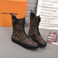 DCCK LV Louis Vuitton Trending Women Fashion Print Heels Shoes Boots