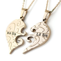 "Sister Gift Set - Half Heart Necklaces Engraved with ""Big Sis"" and ""Lil Sis"", 18"" Chains Included"