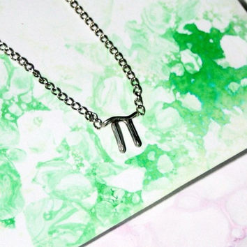 Pi Symbol Necklace - Silver Math / Physics Jewelry - Inexpensive Gift for a Science Major, for friend, co-worker, scientist, math teacher