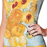 Sunflower Painting Print Scoop Neck One Piece Swimsuit - Beautifulhalo.com