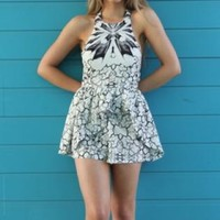 White and black printed playsuit